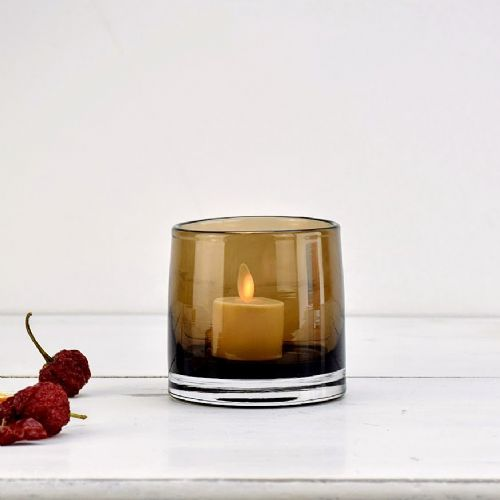 Tea Light Holder Amber